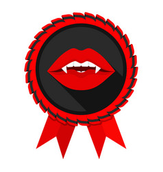 best vampire award badge red woman lips vector image