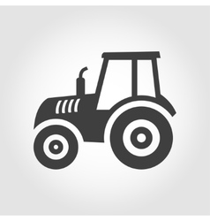 black tractor icon on grey background vector image