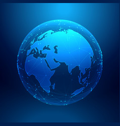 Blue earth on wireframe network mesh digital vector