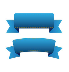 Blue ribbon set vector