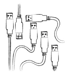 Blurred silhouette set collection usb connectors vector