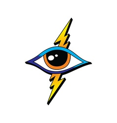 bolt lightning eye symbol theme vector image