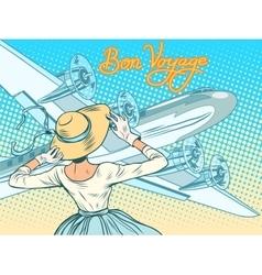Bon voyage girl escorts aircraft vector
