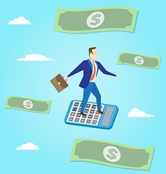 Businessman flying with paper money and clouds on vector