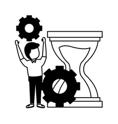 businessman with gears hourglass vector image