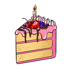 Cake with candle pop art vector