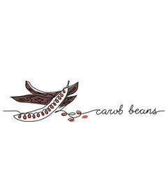 Carob beans one line drawing vector