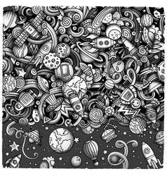 Cartoon cute doodles space frame card vector