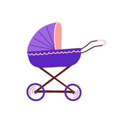 cartoon pram baby stroller isolated on white vector image