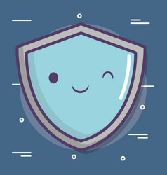 cartoon shield icon vector image