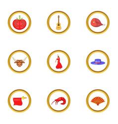 catalonia icons set cartoon style vector image