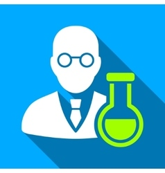 Chemist with retort flat long shadow square icon vector