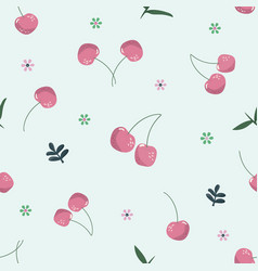 cherry seamless pattern summer vintage background vector image