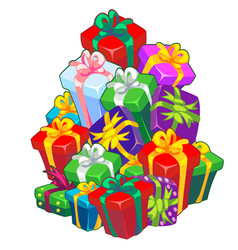 christmas sketch with a stack gift boxes tied vector image