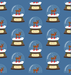 christmas snow globe with moose seamless pattern vector image