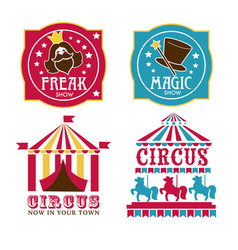 circus and magic show banners with tents or horse vector image