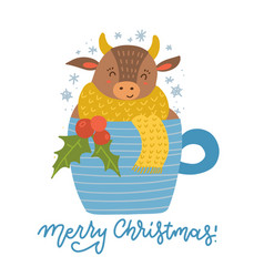 cute cartoon bull is sitting in a cup coffee vector image