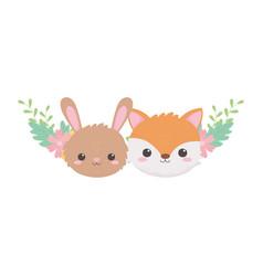 cute rabbit fox faces hearts leaves cartoon vector image