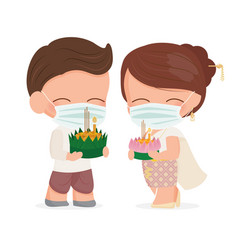 cute thai couple in traditional dress wear face vector image