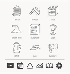Dishwasher kettle and mixer icons vector