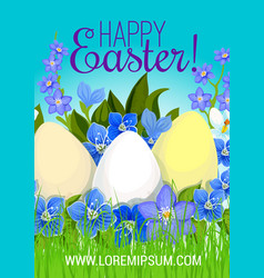 Easter poster paschal eggs flowers greeting vector
