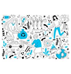 ecology doodle set vector image