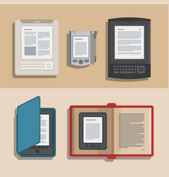 electronic books icon set flat electronics vector image