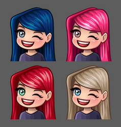 Emotion icons winks female with long hairs vector