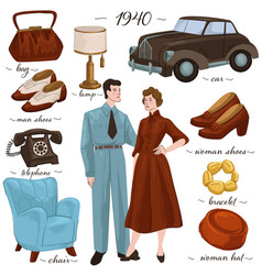 Fashion and interior furniture in 1940s vintage vector