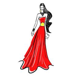 Fashion sketch model in haute couture dress vector