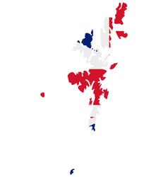 Flag in map shetland islands vector