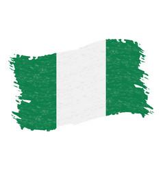 Flag of nigeria grunge abstract brush stroke vector