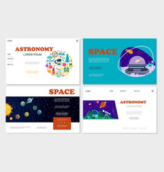 flat space websites set vector image