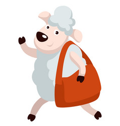friendly sheep walking with bag waving hand vector image