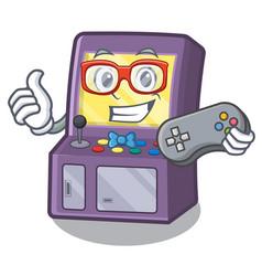 Gamer arcade machine next to mascot table vector