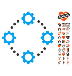 Gear virtual connection icon with love bonus vector