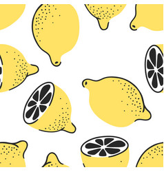 Hand drawn seamless pattern with tropical citrus vector