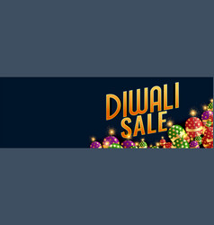Happy diwali sale banner with burning crackers vector