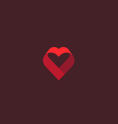 heart ribbon logo valentines day vector image