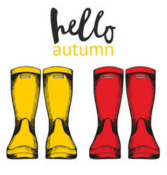 Hello autumn with rubber boots hand drawing for vector