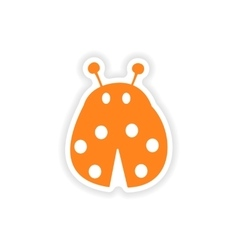 Icon sticker realistic design on paper ladybug vector