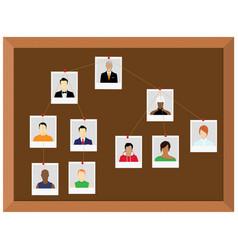 investigation board crime investigation concept vector image