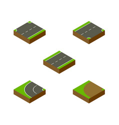 Isometric way set of driveway turning down and vector