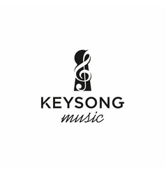 keyhole with music logo design vector image