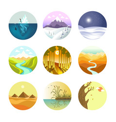 landscape round logotypes set on white vector image
