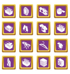 laundry icons set purple square vector image