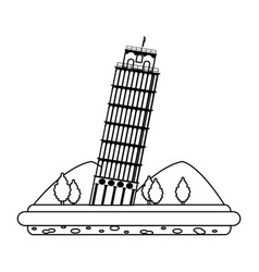 line leaning tower of pisa with mountains and vector image