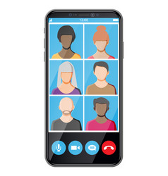 meeting company via video conference vector image