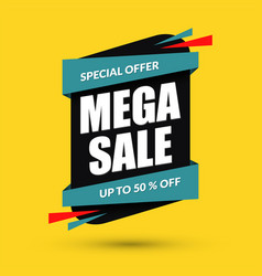 mega sale design special offer concept discount vector image