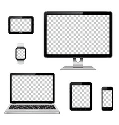 Modern technology devices with transparent vector